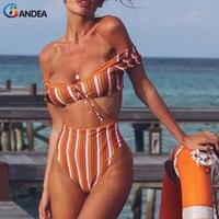 BANDEA 2018 Bikinis Women Swimwear High Waist Swimsuit Sexy Off Shoulder Bikini Set Retro Bathing Suits