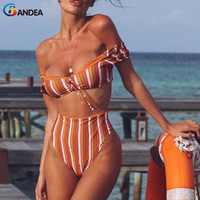 BANDEA 2018 Bikinis Women Swimwear High Waist Swimsuit Sexy Off Shoulder Bikini Set Retro Bathing Suits