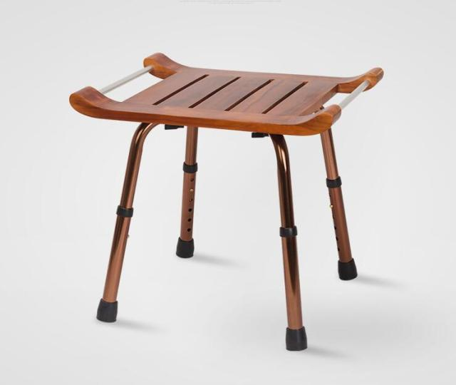 Solid Teak Wood Stool Bench With Aluminum Alloy Legs Shaving Shower Seat For Bathroom Toilet