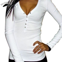 Summer Button T Shirts For Women Solid Long Sleeve V Neck Sexy T Shirts Plus Size