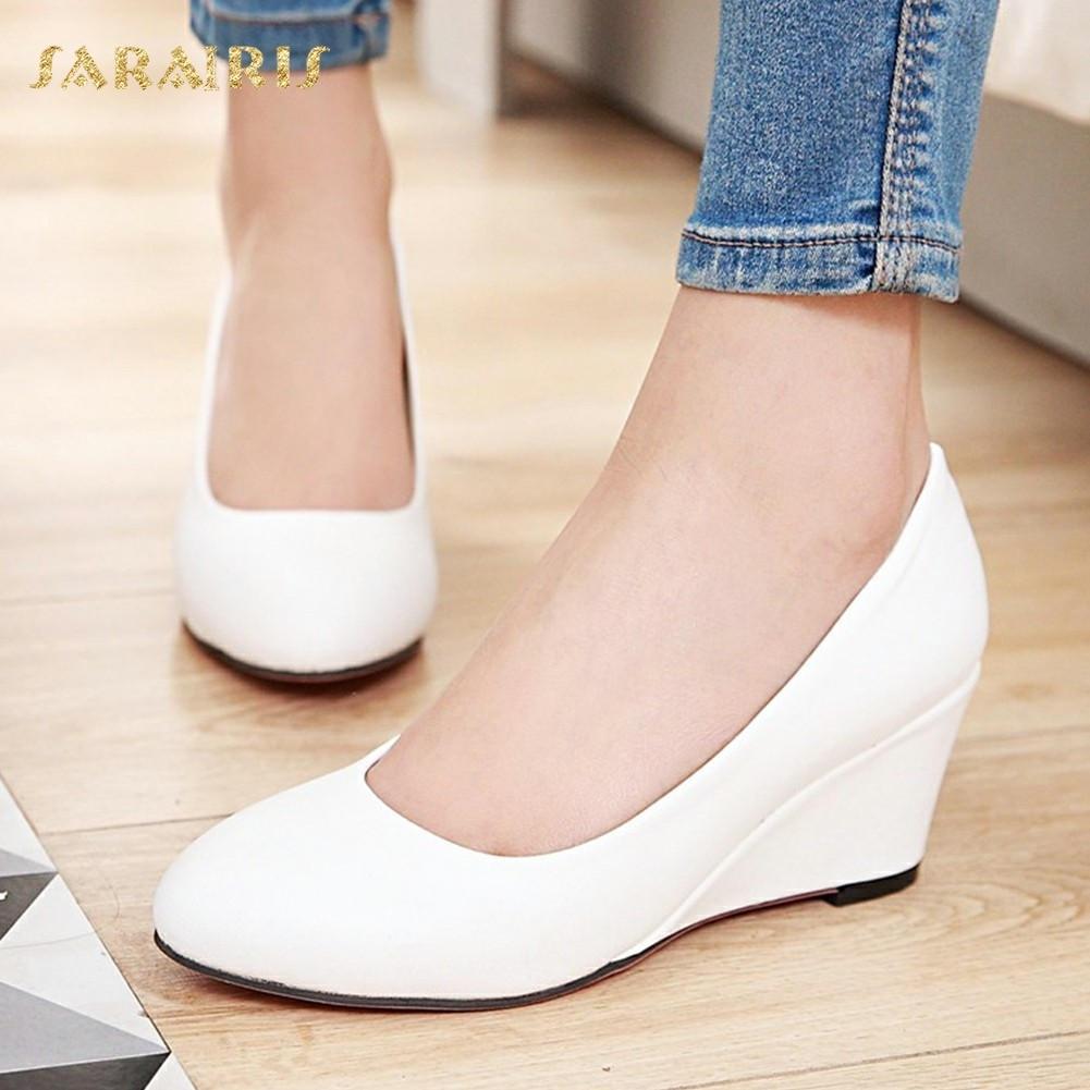 SARAIRIS Women's High Heel Wedge Shoes Woman Slip On Party Wedding Office Black White Pink Blue Beige Pumps Big Size 33-43