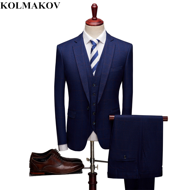 (jacke + Weste + Hosen) 2019 Neue Anzüge Für Männer Business Casual Blau Plaid Anzüge S-xxxl Top Designer Herren 3 Stück Bräutigam Anzug Homme In Vielen Stilen