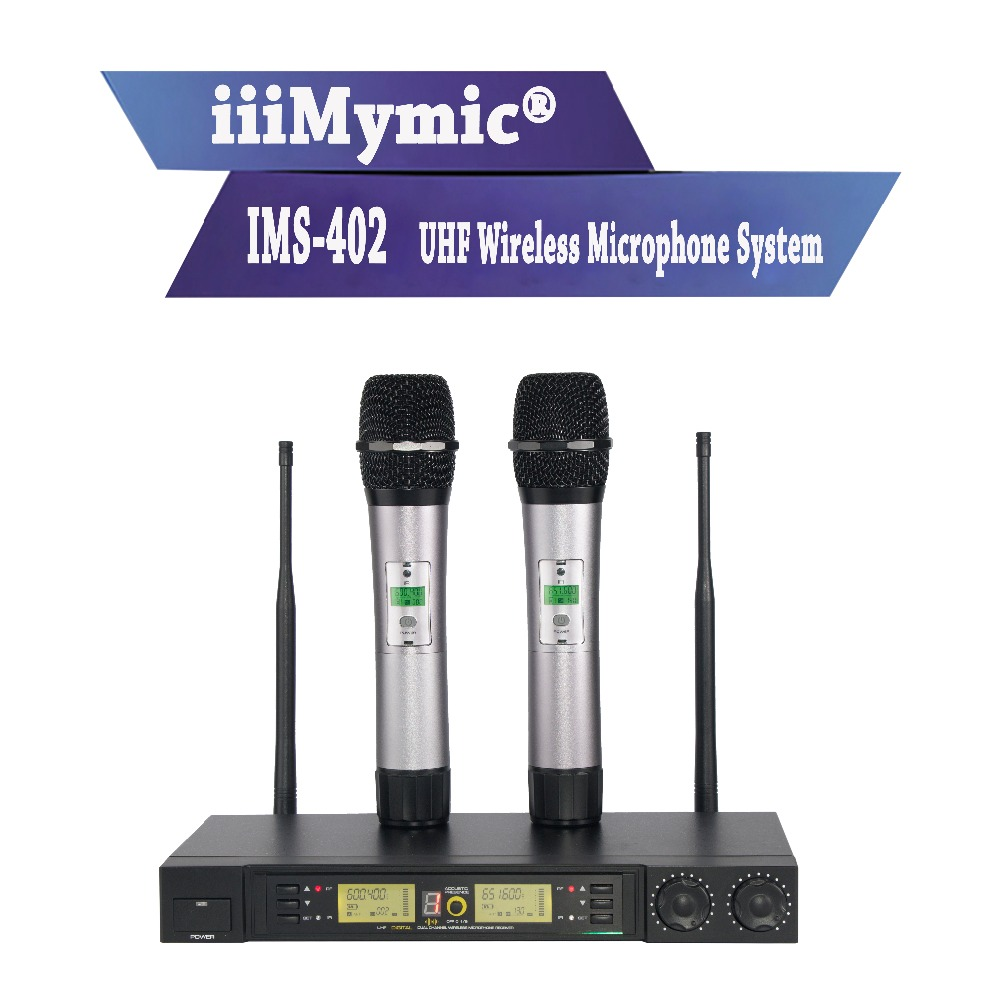 iiiMymic IMS-402!! 200 Channel Wireless Microphone System with Sound Effect!! Dual UHF Metal Handheld Mic for KTV Karaoke DJ high end uhf 8x50 channel goose neck desk wireless conference microphones system for meeting room