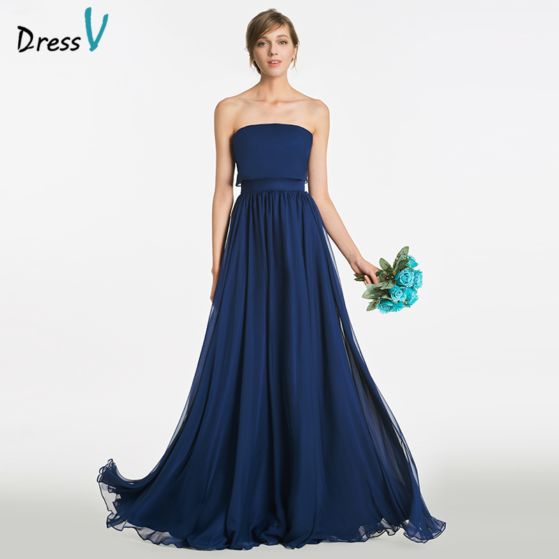 Dressv Long Strapless A Line Bridesmaid Dress Sleeveless