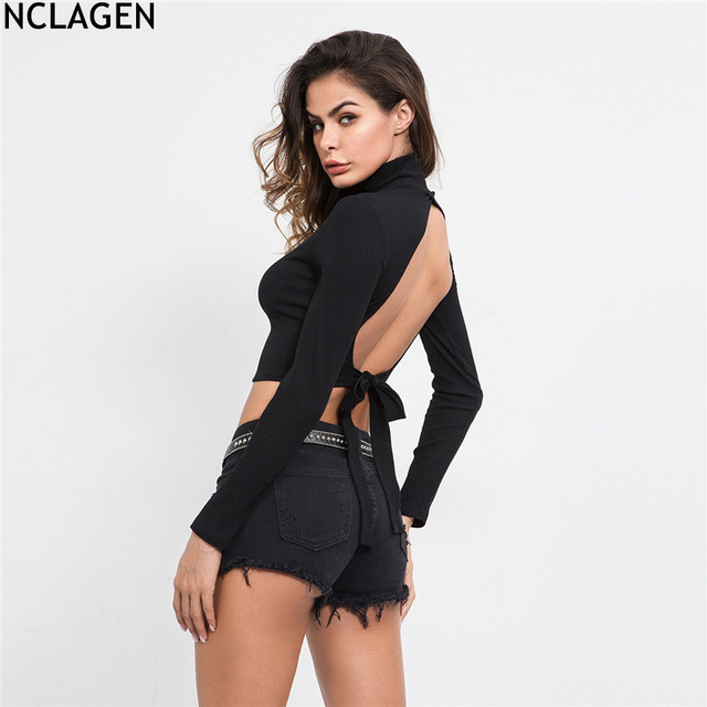 94d6b7fff7e NCLAGEN Women Autumn Long Sleeve Backless Crop Black Lace-up T-shirt Cotton  Slim Fit Stripe Top Sexy Casual Street Wear TShirt