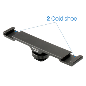 "Image 2 - Ulanzi PT 2 Metal Cold Shoe Plate Universal 2 Hot Shoe Mount Extension Bar Dual Bracket with 1/4"" Thread for Microphone/ Lights"