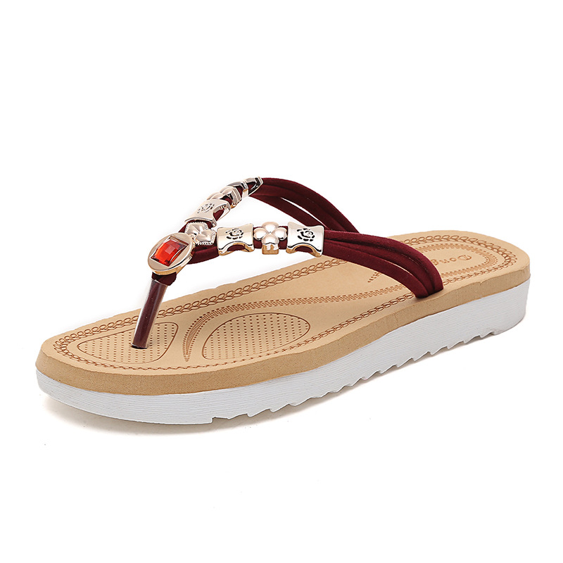 c9c0386e27e8d Fashion 2017 New Summer Women Shoes Casual Breathable Rhinestone Shoes Flip  Flops Beach Non Slip Shoes Slippers-in Women s Sandals from Shoes on ...