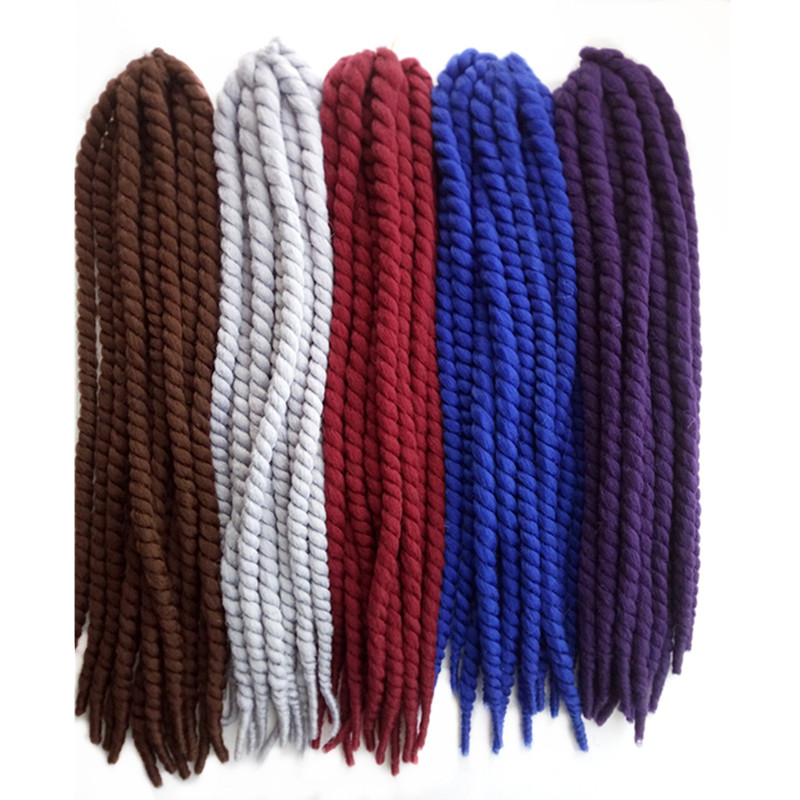 Pervado Hair Synthetic Large Havana Twist Crochet Braiding Hair Extensions 22inch 5packs Brown Grey Blue Bouncy Pre-Loop Hair