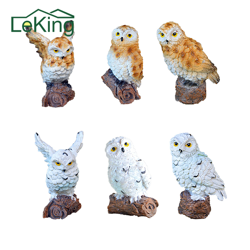 Resin Imitation Mini Owls Miniature House Fairy Garden Micro LandscapeGarden Outdoor Patio Decoration Plant Pots Bonsai Craft