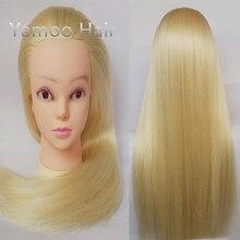 Yaki Blonde color Hiardressing Training hair Manequin Head female fashion 68cm synthetic heat fiber hair styling mannequins