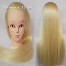 Yaki Blonde color Hiardressing Training hair Manequin Head female fashion 68cm synthetic heat fiber hair styling mannequins