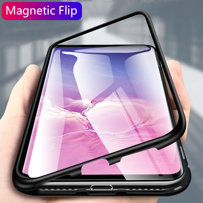 For Samsung S10 Plus Case Magnetic Adsorption Flip Metal Tempered Glass Cover Case For Samsung Galaxy S10 S10e S10plus Case Capa (4)