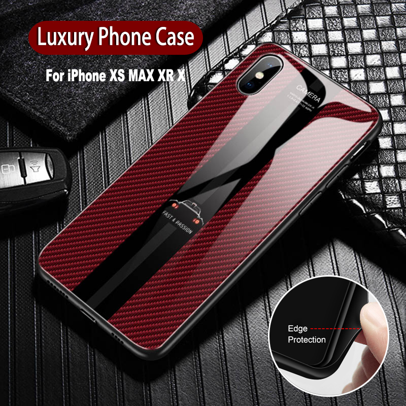 Luxury Tempered Glass Case For <font><b>iPhone</b></font> Xs Max Xr X Fashion Design Protective Soft TPU Mobile Phone Back Cover Case For <font><b>iphone</b></font> X image
