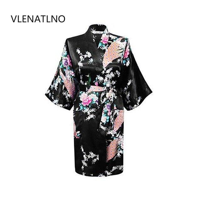 2015 Seta Abito Kimono Accappatoio Delle Donne del Raso Robe Robe Longue femme per le donne notte sexy vestaglie notte crescere per damigella d'onore estate