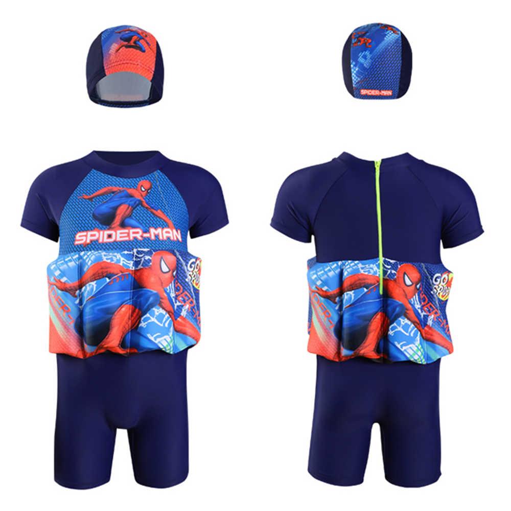 Детская одежда для плавания с человеком-пауком цельнокроеный съемный плавучий купальный костюм-поплавок, шапочка для плавания/шапочка, рукав до колена, костюм для плавания