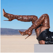 KEAIQIANJIN Snakeskin Women's Over The Knee Boots Plus Size 33 43 Botas High Heel Woman Thigh High Boots Sexy Fashion Sexy Shoes keaiqianjin woman string bead over the knee boots black fashion autumn winter high heeled shoes genuine leather knee high boots