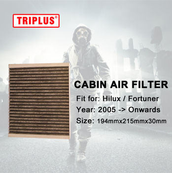 Cabin Air Filter for Toyota Hilux / Fortuner (2005-Onwards) 1pc, Activated High Carbon Pollen Air Filters image