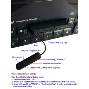 Image 3 - Многофункциональный автомобильный Bluetooth Кассетный адаптер, Bluetooth V4.1 музыкальный приемник адаптер с TF 4GB work во время зарядки, поддержка TF