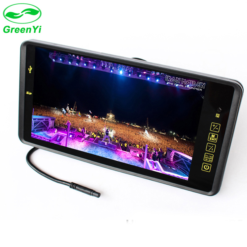 GreenYi 9 TFT LCD Color 800*480 Car Monitor Screen with Remote Support 2CH Video Input MP5 USB SD Card For Rear View Camera