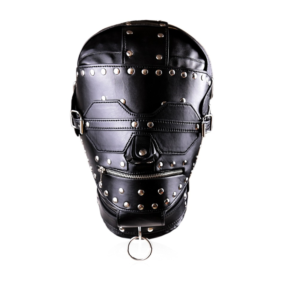 ФОТО 2017 New styles male leather mask Zipper open adult head bondage mask adult sex toys for couples bdsm fetish mask