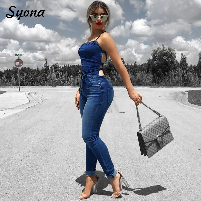 Casual Sexy WOMEN STRAP ROMPER DENIM   JUMPSUIT   Halter Stretch Jeans One Piece Overalls Long Pants Backless Bandage Plus Size Club