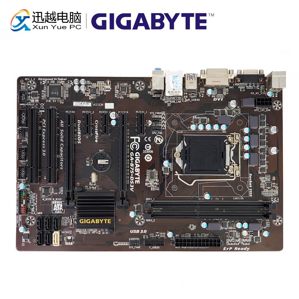 Gigabyte GA-B75-DS3V Desktop Motherboard B75-DS3V B75 LGA 1155 i3 i5 i7 DDR3 16G SATA3 USB3.0 COM Port VGA DVI ATX цена