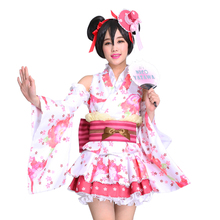New LoveLive! Nico Yazawa Cosplay Costume Yukata Kimono Dress Uniform Outfit Halloween Adult Costumes for Women S-XL
