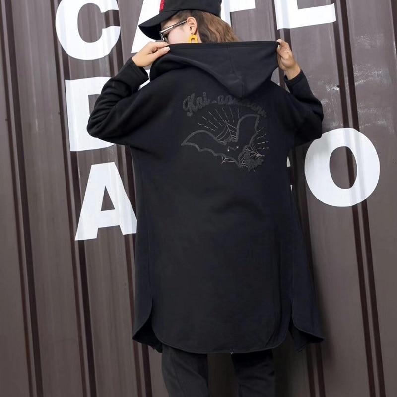 Fashion Winter Warm Flocking Coat Women Long Punk Rock Embroidery Casual Oversized Casaco Feminino Women s