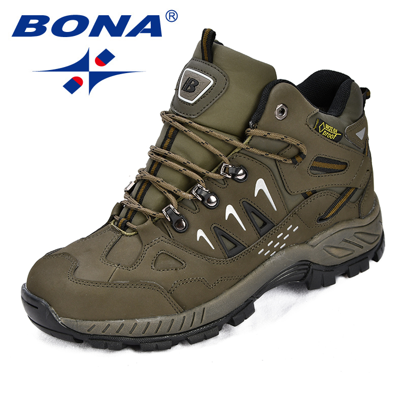 Spor ve Eğlence'ten Dağ Yürüyüşü Ayak.'de BONA yeni klasik tarzı erkekler yürüyüş ayakkabıları eylem deri erkekler spor ayakkabı Lace Up açık erkekler koşu Sneakers ücretsiz kargo title=