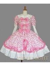 Sweet Printed Pattern Long Detachable Sleeves Lolita Dress