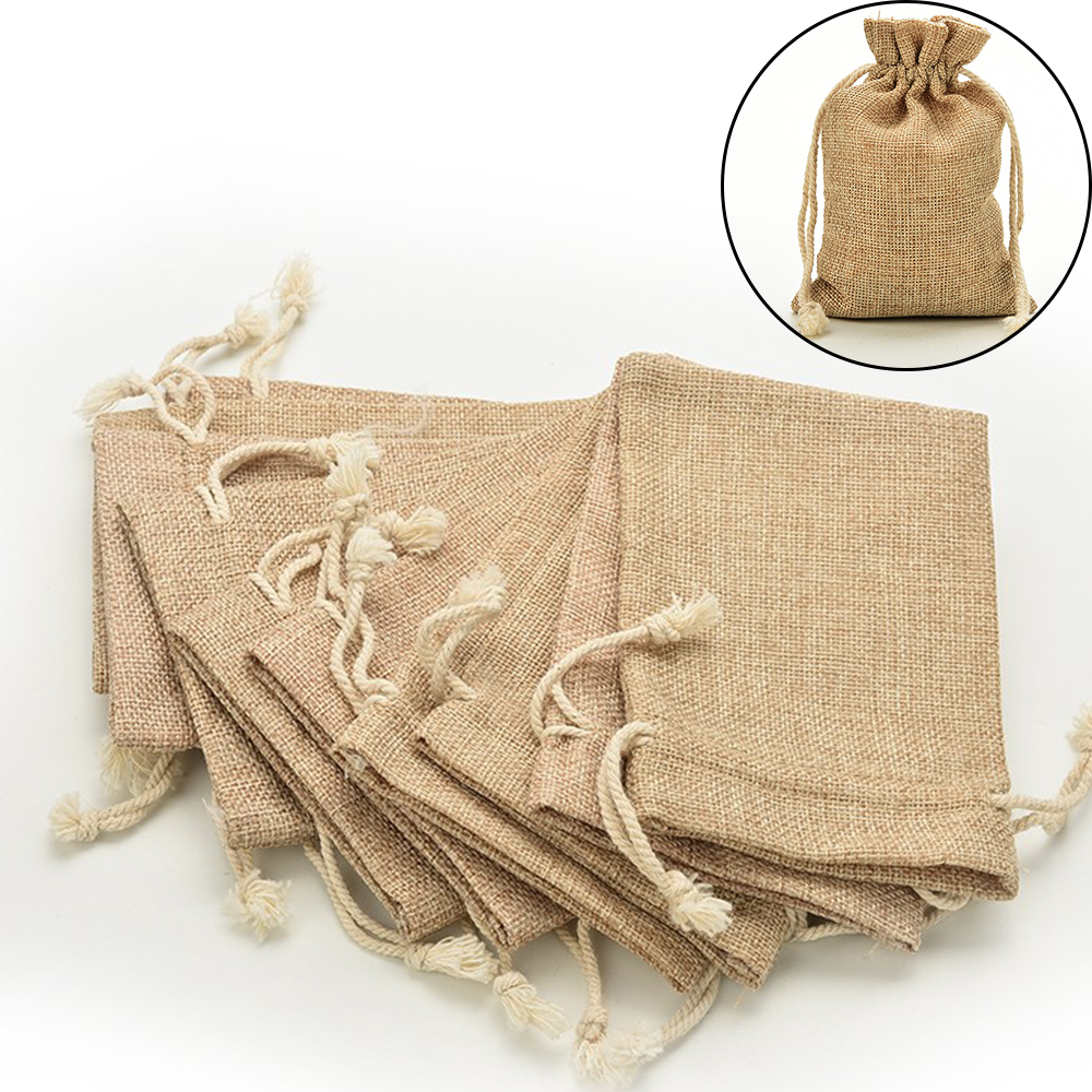 Nieuwe Linnen Jute Koord Gift Bags Sacks Party Gunsten Verpakking Bag Wedding Candy Gift Bags Feestartikelen title=