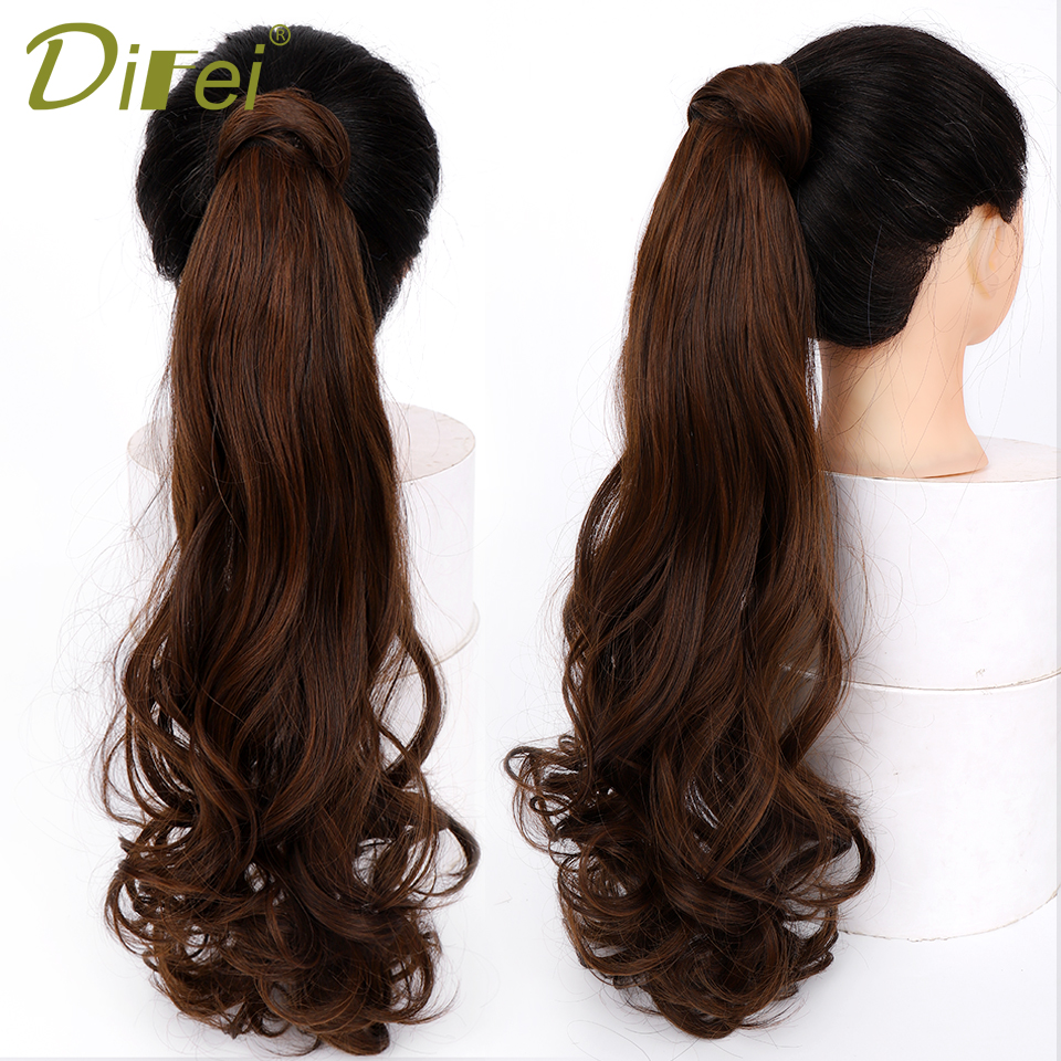 DIFEI Synthetic Long Wavy Ponytails Clip in Pony tail Hair Extensions Wrap Around on Hair Extension(China)