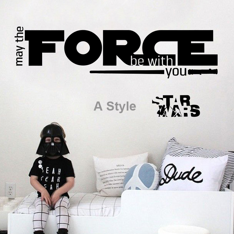 Nieuw ontwerp kan The Force Be With You War Star Quote muursticker Home Decor Art Vinyl Decal DIY woondecoratie kinderkamer