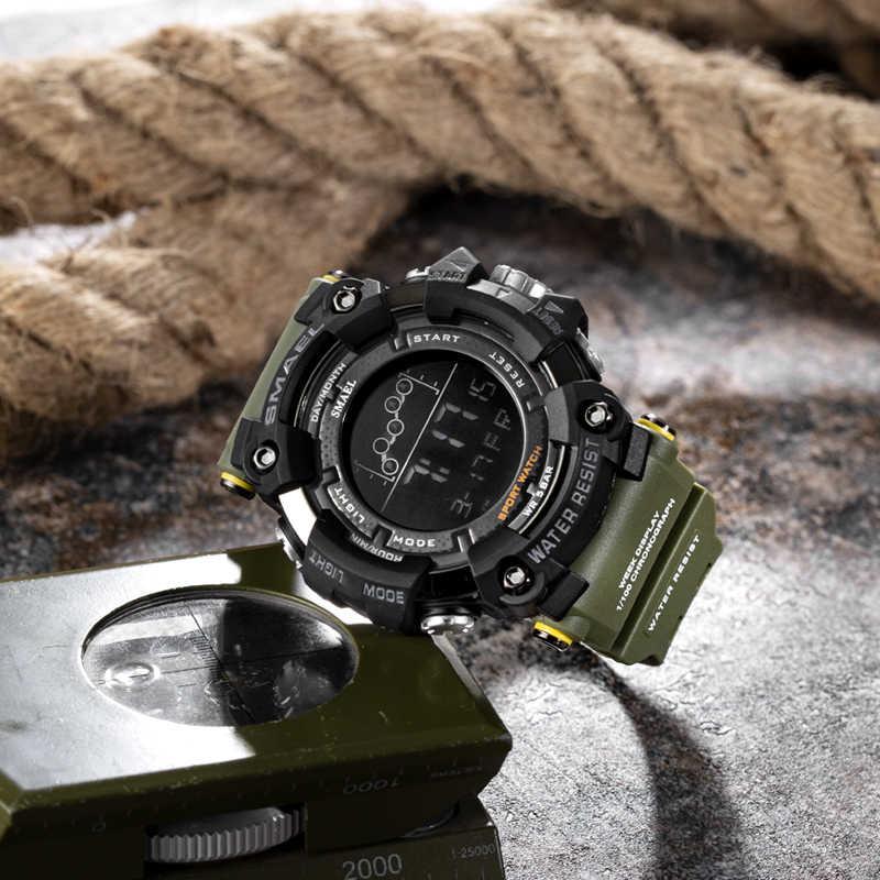 Relógio dos homens militar resistente à água smael esporte relógio exército led digital relógios de pulso para masculino 1802 relogio masculino relógios
