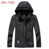 Male Bomber Baggy Hooded Jacket Spring Summer Zipper Camo Windbreaker Men Black Streetwear Smart Travel Coat 6XL 8XL 2018 XMR05