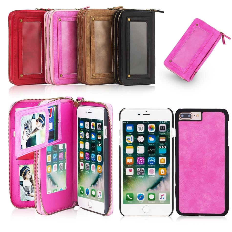 bilder für Wellendorff für iphone 7 5 s 6 6 s plus 6 plus 6 splus 7 plus luxus pu leather wallet card slots handytasche spiegel geldbörse case abdeckung
