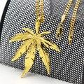 Золотой Лист Конопли ожерелье Способа Высокого Качества Хип-Хоп позолоченный 60 см длинной цепи ожерелье мужчин ювелирные изделия Аксессуары 2017