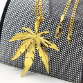 Golden Hemp Leaf pendant necklace High Quality Fashion Hiphop Gold plated 60cm long chain necklace men jewelry Accessories 2017