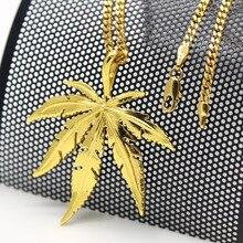 Hoja De Cáñamo de oro colgante collar de Hiphop de Moda de Alta Calidad chapado en Oro de 60 cm de largo collar de cadena de los hombres Accesorios de la joyería 2017