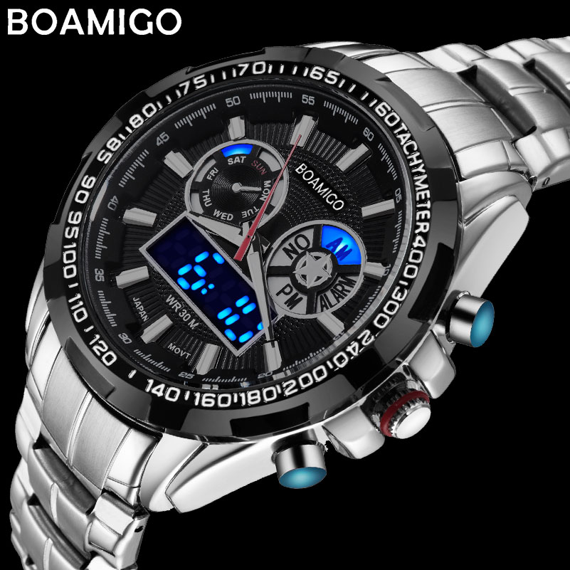 men sport watches military steel digital watch Luminous hand quartz watch 2017 BOAMIGO silver gift 30m waterproof wristwatches