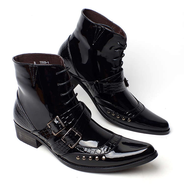 men fashion bright patent genuine leather shoes spring autumn ankle boots nightclub punk point toe shoe oxfords footwear buckle - Miyado store