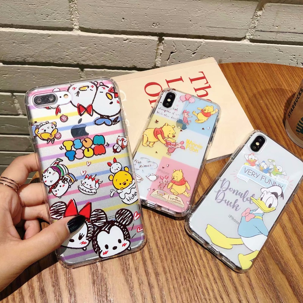 3D Releif Catoon Cute Case for Apple iPhone XS Max XR X 6S 7 8 Plus Clear TPU Mickey Duck <font><b>Poof</b></font> Patterned Soft Rubber Cover image