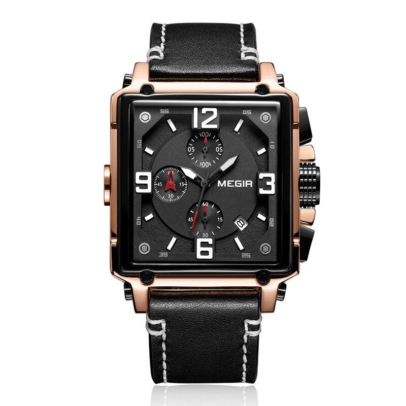 MEGIR Creative hommes montre Top marque de luxe chronographe Quartz montres horloge hommes en cuir Sport armée militaire montres Saat
