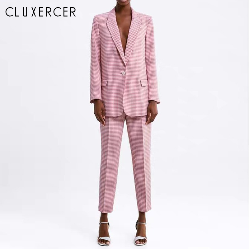 Pink Plaid Pant Suit 2 Piece Set Women Blazer And Pencil Pant Office Lady Notched Jacket Female Pink Outfits