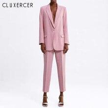 Pink Plaid Pant Suit 2 Piece Set Women Blazer And Pencil Pan