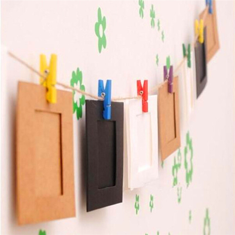 10Pcs/Pack DIY Wall Hanging Paper Photo Frame Album Creative Album Display  Gallery Hanging Clips Hemp Rope Sets -in Frame from Home & Garden on ...