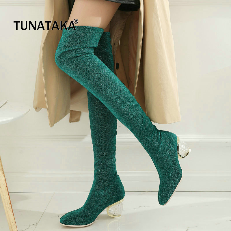 The New Comfort Strange Style Slip On Over The Knee Boots Fashion Bling Party Thigh Boots Red Green Gold