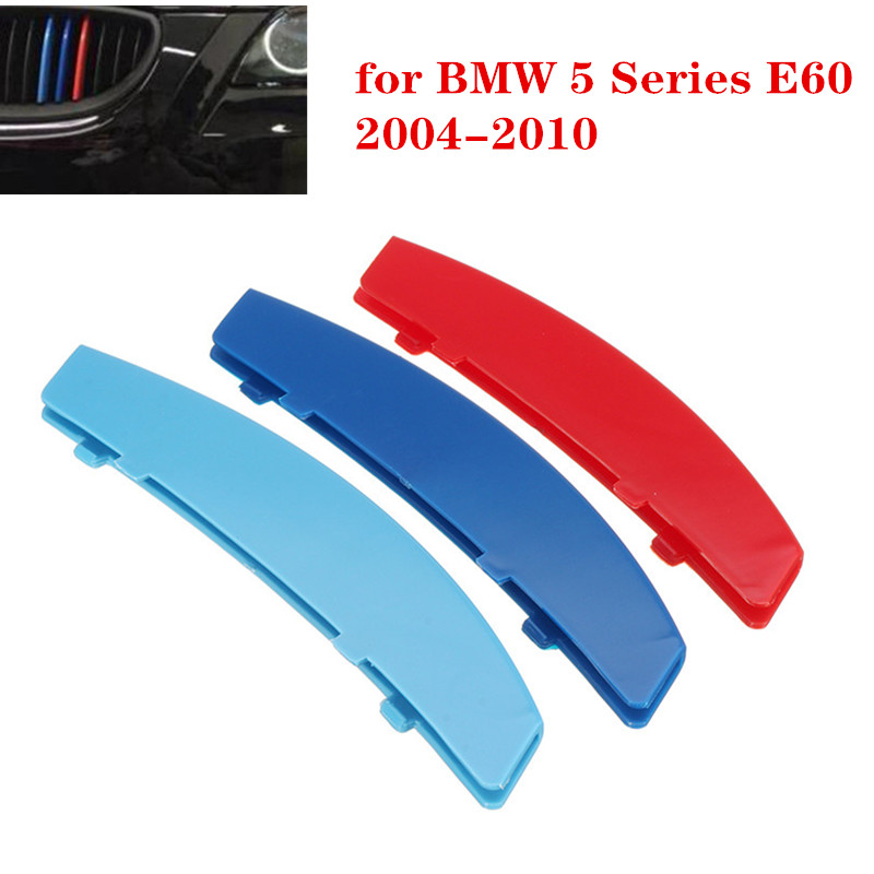 3pcs Car 3D M Styling Front Grille Trim Strip Cover Bumper Stripes Cover Stickers For BMW 5 Series E60 2004-2010 Car Accessories