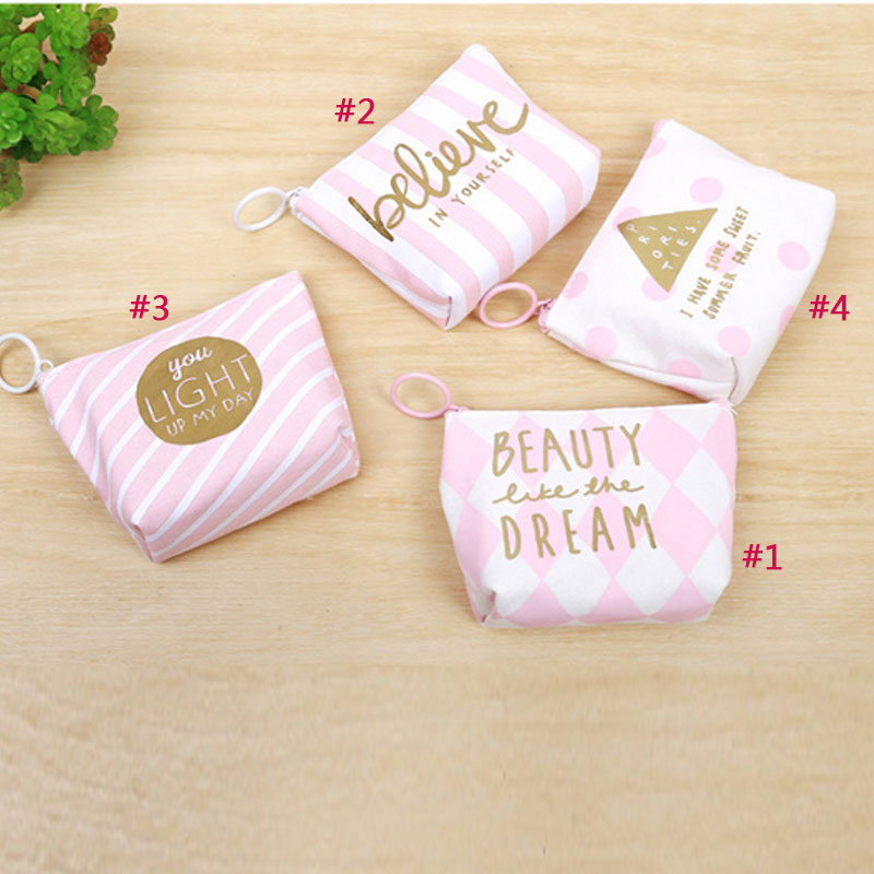 Cute Mini Coin Purse Canvas Bag Women Girls Letters Printed Keys Pouch Phone Headset Holder Bags  WML99 dachshund dog design girls small shoulder bags women creative casual clutch lattice cloth coin purse cute phone messenger bag