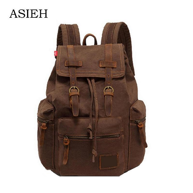 Brand Vintage Backpack Canvas Backpack Leisure Travel School Bag Unisex Laptop Backpacks Men Backpack Mochilas sac a dos rugzak vintage multifunction business travel canvas backpack men leisure laptop bag school student rucksack